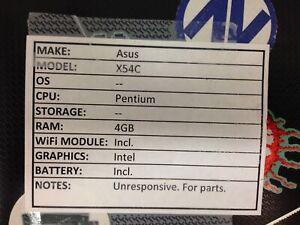 Asus X54C *Unresponsive* Pentium/4GB/BATT - No OS/HDD/CHRG