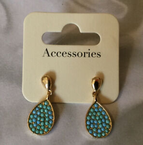 DUNNES STORES Turquoise Cluster Drop Earrings Pierced Costume Tear Oval Dangle