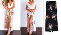 Women's Peony print Pants Loose Leg Elastic Waist Comfy Culottes Fit Size 6up18