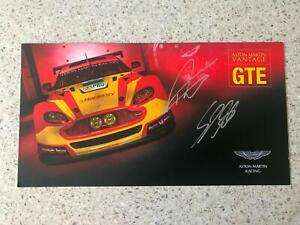 Stefan Mucke, Darren Turner Aston Martin Vantage Hand Signed Promo Card Le Mans