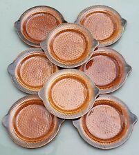 Huit assiettes à poisson faïence de Sarreguemines vintage barbotine.