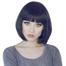 Elegant Women Short Black Straight Bob 100% Real Human Hair Wigs with Cap