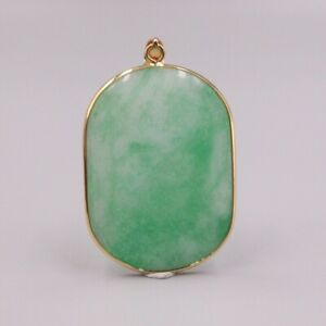 New 18k GP Alloy With Green Chalcedony Pendant Women Ellipse Smooth  Pendant