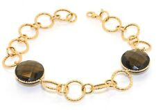 Textured Rolo Topaz Bracelet 14K Yellow Gold All Sizes