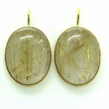 Ohrringe Ohrhänger mit Rutil Bergkristall 14kt 585 Gelbgold