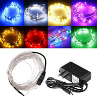 5M LED Silver Wire Fairy Starry String Lights DC 12V Indoor/Outdoor Decors CA/US