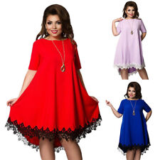 Plus Size Women Short Sleeve Lace Long Evening Party Prom Gown Formal Lace Dress