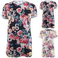 Womens Baggy Turn Up Sleeve T Shirt Rose Ladies Flower LOVE NYC LOL 6 8 Tee Top