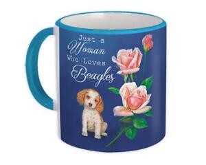 Gift Mug : Just a Woman Who Loves Beagles Animal Dog Flower Floral Vintage