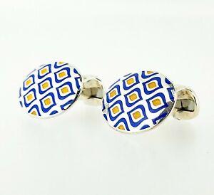 Deakin & Francis Sterling Silver Blue & Yellow Enamel Cufflinks