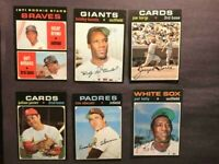 (6)1971 TOPPS BASEBALL CARDS LOT. EXNM W/JOE TORRE, BARRY BONDS-FREE SHIPPING