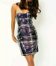 SEQUIN MINI DRESS size 12 purple GEORGE silver OCCASION summer PARTY strapless