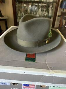 Stetson Sovereign Chatham Fedora Hat Size 6 7/8 Sage Green New