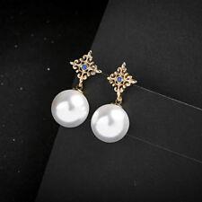 f76d47667c7b Palacio Mujeres Elegante Aretes de Oro Cristal Perla Grande
