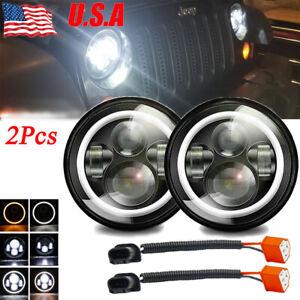 "2x 7"" INCH 280W LED Headlights Halo Angle Eye For 97-18 Jeep Wrangler CJ JK LJ"