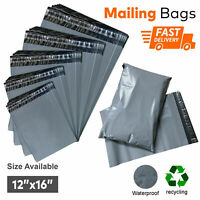 "12 x 16"" Large Grey Mailing Bags Parcel Postage Plastic Post Poly Self Seal Bags"