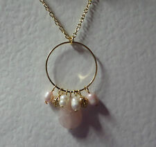 """PINK AGATE & FWP PEARL DANGLY HOOP NECKLACE GOLD PLATED 18"""" 45 cm + EXT"""