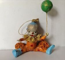Harlequin Vintage Clown Ornament-jester Figurine- Papermache Hanging Clown