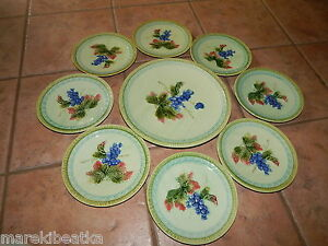 ANTIQUE GERMAN BLACK FOREST  ART POTTERY  ERPHILA MAJOLICA 9 PC PLATES CAKE SET
