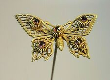 Antique Hatpin Filigree Butterfly Amethyst Rhinestones