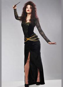 Womens Bellatrix LeStrange Adult Fancy Dress Costume INCLUDES DRESS AND WAND