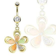316L Surgical Steel Gold Ip Flower with Cateye Gems and Cz Petals Navel Ring