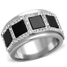 2067 black onyx band SIMULATED DIAMOND RING STAINLESS STEEL NO TARNISH womens