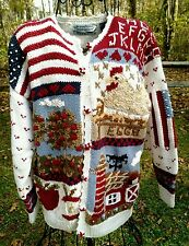 HandKnitted Sweater Sz M Signatures By Northern Isles Country Chicken Farm Cow