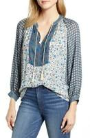 Lucky Brand Top Blouse Border Print Long Sleeve Pullover Peasant XS NEW NWT 259