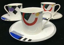 Mikasa Maxima High Spirits Geometric 3 Cup Saucer Sets CAK12 Colorful Teacup