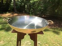 "William Sonoma Copper Paella Pan 20.5"" Stainless Lined Mauviel Roaster 2mm"