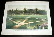 "OLD 1960'S CURRIER & IVES LITHO PRINT, ""AMERICAN GAME OF BASE BALL"" ORIG 1866!"