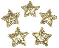 5 Deko Glitzer Sterne 3,5 cm Patches gold Stern Aufnäher Weihnachten Applikation