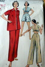 Lovely Vtg 1950s Pajamas Sewing Pattern 18/36