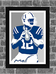 Indianapolis Colts Andrew Luck Portrait Sports Print Art 11x17