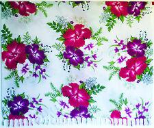 Sarong . Pareo Wickeltuch Tuch Strandkleid . Blumen weiß lila violett pink . NEU