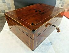 VICTORIAN LARGE INLAID MAHOGANY BOX- REFURBISHED + RELINED INTERIOR- LOCK & KEY