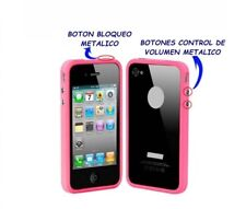 funda carcasa BUMPER para IPHONE 4 4S BOTONES METALICOS COLOR ROSA