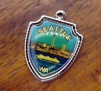 Vintage silver WASHINGTON STATE SEATTLE SPACE NEEDLE TRAVEL SHIELD charm #E7