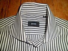 STUNNING Boss Hugo Boss Grey & White Striped Shirt 39/15.5 Immaculate