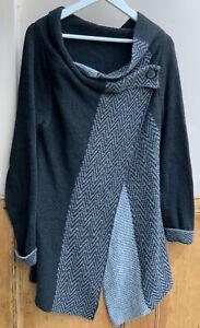 Women's Unbranded Grey & Black Asymmetric Cardigan size 12/14uk