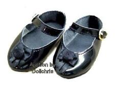 Mary Jane Shoes for 18 inch American Girl Dolls Black Patent Rose Trim Lot Ag-3