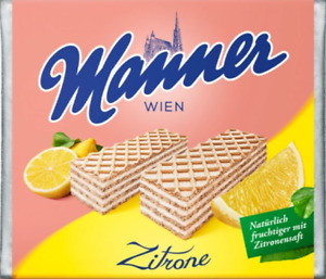 Manner Lemon Cream Wafers - Imported schnitten from Austria, stocked in the UK