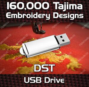 160,000 Tajima embroidery pattern design files DST on USB drive