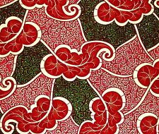 African Fabric 1/2 Yard Cotton Wax Print RED GREEN Abstract BTHY