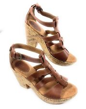 Bøc Børn Concept Leather Ankle Strappy Sandals Cork Heels Women's 10 US 42 EUR