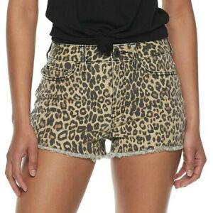 NEW So High Rise Animal Print Jean Shortie Shorts Size 9