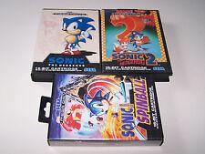 SONIC THE HEDGEHOG 1 & 2 & SPINBALL - Sega Mega Drive - UK PAL - Boxed Complete