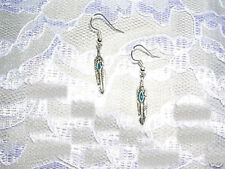 NEW SOUTHWESTERN STYLE FEATHER w BLUE INLAY SILVER ALLOY FEATHERS DROP EARRINGS