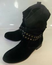Twiggy Wos Boots London Ankle US 9 M Black Suede Studded Straps Pull On Slouchy